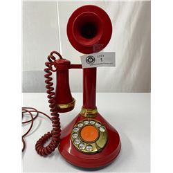 1970s Red Candlestick Phone In Good Working Order