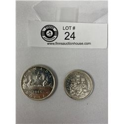 1966 Canadian Silver Dollar And 1961 Silver 50c Piece
