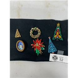 Nice Lot Of 6 Vintage Christmas Brooches
