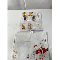 70x52 Vintage Embroidered Christmas Table Cloth With 6 Napkins And Napkin Rings, Hand Crafted