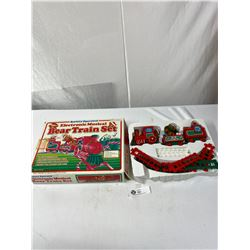 Vintage Battery Operate Electronic Musical Bear Train Set In Original Box