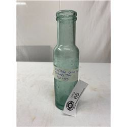 Pre 1913 Antique Olive Bottle With A Plied Top