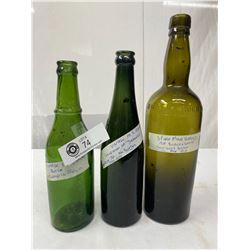 3 Turn Of The Century Vintage Bottles, Whiskey, Beer, Bottles