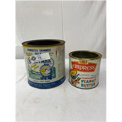 Vintage Empress Peanut Butter Tin And A Sweetmilk Fraser Valley Milk Producers Tin