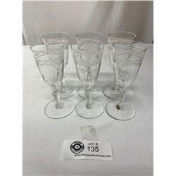 6 Signed Costa Boda Etched Vintage Sherry Glasses Made In Sweden