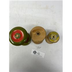 3 Antique Wooden Spools