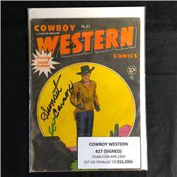 COWBOY WESTERN #27 (CHARLTON MAGAZINE) 1950 Signed by Sunset Carson