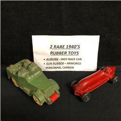 2 RARE 1940's RUBBER TOYS (AUBURN INDY RACE CAR/ SUN RUBBER ARMORED PERSONAL CARRIER)
