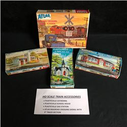 HO SCALE TRAIN ACCESSORIES (CATHEDRAL/ SCHOOL HOUSE/ GAS STATION/ RAILROAD CROSSING SIGNAL)