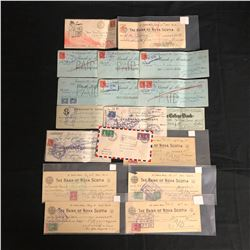 VINTAGE CANCELLED BANK CHEQUES/ STAMPS LOT