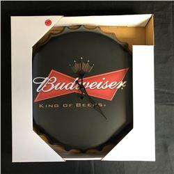 NIB BUDWEISER BOTTLE CAP WALL CLOCK