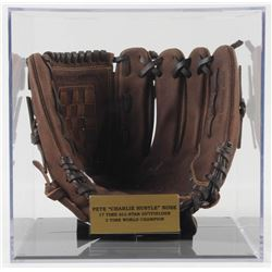 "Pete Rose Signed Rawlings Baseball Glove Inscribed ""4256"" With Display Case (PSA COA)"