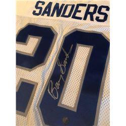 BARRY SANDERS SIGNED DETROIT LIONS STATS FOOTBALL JERSEY w/ HOLOGRAM