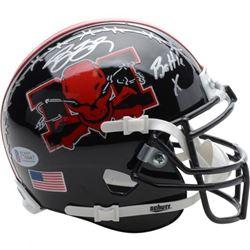 "Bill Goldberg The Longest Yard Signed Mean Machine Mini Helmet with the inscription ""Battle X."" I"