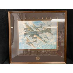 """KEITH FERRIS FRAMED PRINT (THE GOLDEN ANNIVERSARY OF THE B-17 """"FLYING FORTRESS"""""""