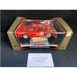 1:18 SCALE F40 RED RACE CAR #3 METAL DIE-CAST MODEL by BURAGO GOLD COLLECTION (1987) MADE IN ITALY