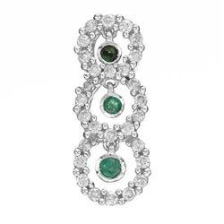 14k White Gold  0.38CTW Emerald and Diamond Pendant