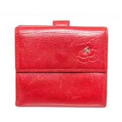 Chanel Red Leather Camellia Compact Wallet