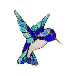 Opal and Lapis Lazuli Hummingbird Pin/Pendant - 18KT Yellow Gold