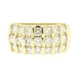 14kt Yellow Gold 1.48 ctw Bar Set Round Diamond Wide Band Ring