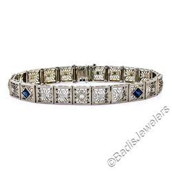 Art Deco Etched 14kt White Gold Diamond and Sapphire Filigree Line Bracelet