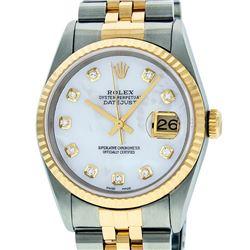 Rolex Mens 2 Tone Mother Of Pearl VS Diamond 36MM Datejust Wristwatch