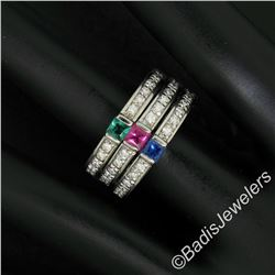 Set of 3 Stackable 18kt White Gold Emerald Ruby Sapphire and Diamond Band Rings