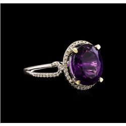 14KT White Gold 3.95 ctw Amethyst and Diamond Ring