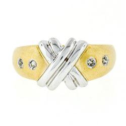 "New 14kt Two Tone Gold Burnish Round Diamond Dual Finish ""X"" Band Ring"
