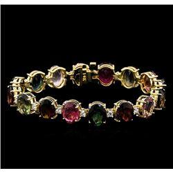 35.00 ctw Multi-Color Tourmaline and Diamond Bracelet - 14KT Yellow Gold