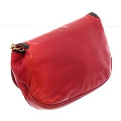 Chanel Red Black Lambskin Leather CC Chain Flap Shoulder Bag