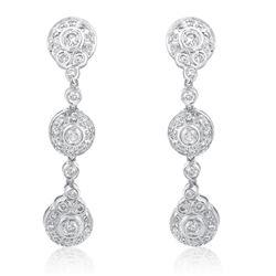 14k White Gold 0.75CTW Diamond Earrings, (I1-I2/H)