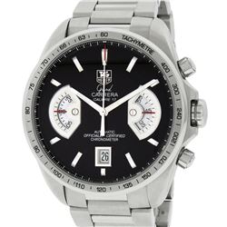 TAG Heuer Mens Stainless Steel Black Dial Grand Carrera 43mm Chronograph Wristwa