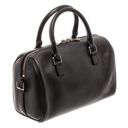 Saint Laurent YSL Black White Leather Classic Baby Duffle Bag