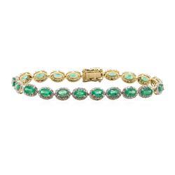 8.51 ctw Emerald and Diamond Bracelet - 14KT Yellow Gold