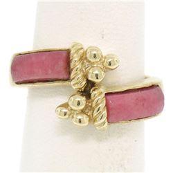 14k Yellow Gold 2 Bezel Set Rectangular Pink Jade Bypass Ring