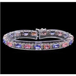 14KT White Gold 6.30 ctw Sapphire, Tanzanite and Diamond Bracelet