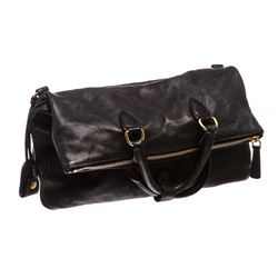 Miu Miu Black Grained Leather Fold Over Crossbody ToteBag