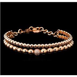 0.28 ctw Diamond Bangle Bracelet - 14KT Rose Gold