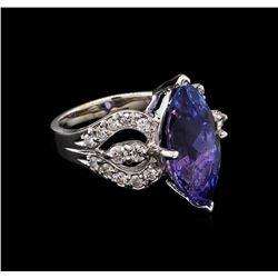 6.70 ctw Tanzanite and Diamond Ring - 14KT White Gold