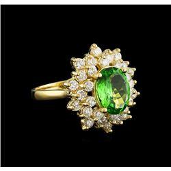 2.00 ctw Tsavorite and Diamond Ring - 14KT Yellow Gold