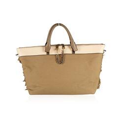 Chloe Baylee Khaki Canvas and Leather Crossbody Tote Bag