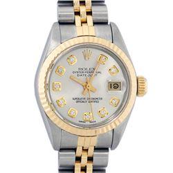 Rolex Ladies 2 Tone Silver Diamond 26MM Datejust Wristwatch
