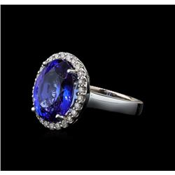 7.98 ctw Tanzanite and Diamond Ring - 14KT White Gold
