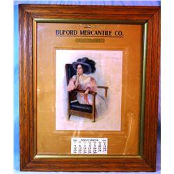 1911 Buford Mercantile Calendar, Alder, MT, framed