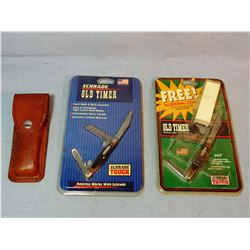 Schrade folding knife w/case and 2 pocket knives, new