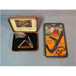 Schrade 2003 and 04 Fed. Duck Stamp pocket knife and money clip, in wood case and FFA Comm. Pocket k