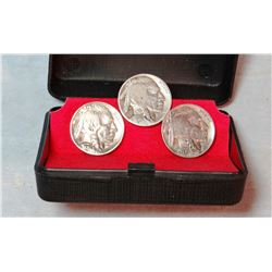 Buffalo nickel tie clasp and cuff links & Prison-made glass rosette necklace