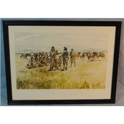 """2 C. M. Russell prints, Indian & Scouts Talking and When Cows Were Wild, 9"""" x 14"""" each, framed"""