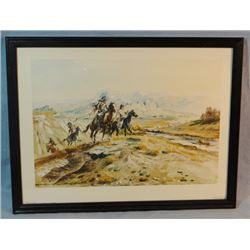 """2 C. M. Russell prints, Intruders and Surprise Attack, 9"""" x 14"""" each, framed"""